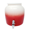 Premium Lead-Free Porcelain Beverage Dispenser With Matching Lid - 2.5 Gallons - Comes with Crock Ring Protector, No-Drip Chrome Painted BPA-Free Plastic Spigot Faucet and Lid - Gradient Red