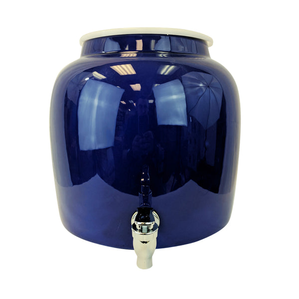 2.5 Gallon Porcelain Water Crock Dispenser With Crock Protector Ring and Faucet - Solid Blue