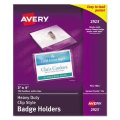 Avery Heavy-Duty Clip-Style Badge Holders, Horizontal, 4 x 3, Clear, 100/Box - Clear