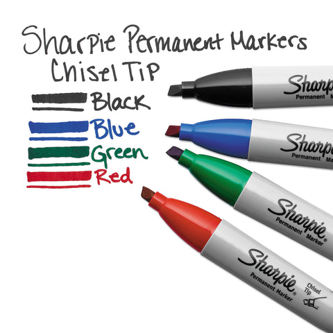 Sharpie Chisel Tip Permanent Marker, Medium, Blue, Dozen
