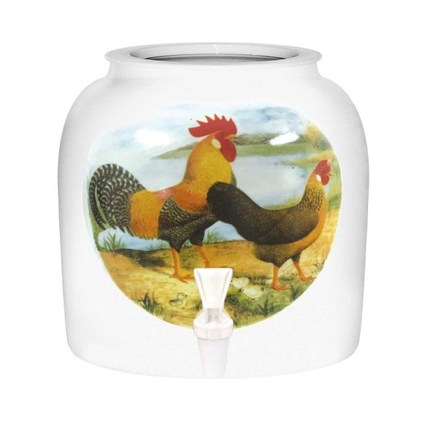 2.5 Gallon Porcelain Water Crock Dispenser With Crock Protector Ring and Faucet - Rooster And Hen