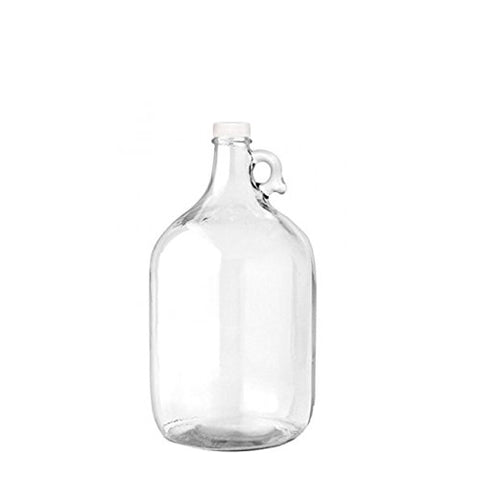 1 Gallon Glass Jug Reusable Water Bottle BPA Free With Cap and Finger Holder - Clear - Rust Free - 38mm Leak Proof Screw Cap
