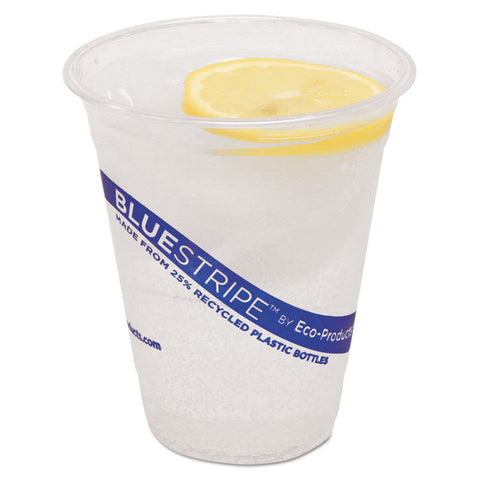 BlueStripe 25% Recycled Content Cold Cups, 12 oz, Clear/Blue, 50/Pk, 20 Pk/Ct