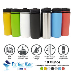 18 oz Double Wall 18/8 Pro-Grade Stainless Vacuum Sealed Big Mouth Water Bottle with Leak-Proof Black Stay-On Cap  | Great For Alkaline Water Storage - Mango