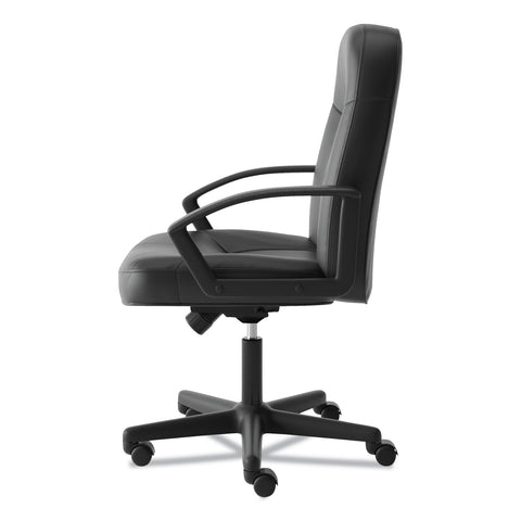 HON HVL601 Series Executive High-Back Leather Chair, Supports up to 250 lbs., Black Seat/Black Back, Black Base - Black