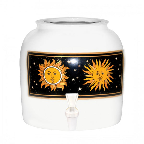 2.5 Gallon Porcelain Water Crock Dispenser With Crock Protector Ring and Faucet - Suns & Stars