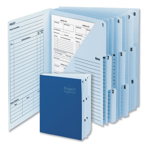 Smead 10-Pocket Project Organizer, 10 Sections, 1/3-Cut Tab, Letter Size, Lake Blue/Navy Blue - Lake Blue/Navy Blue / Letter