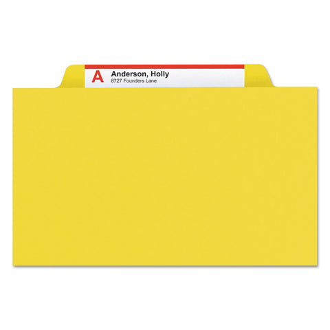 Smead Eight-Section Pressboard Top Tab Classification Folders with SafeSHIELD Fasteners, 3 Dividers, Letter Size, Yellow, 10/Box - Yellow / Letter