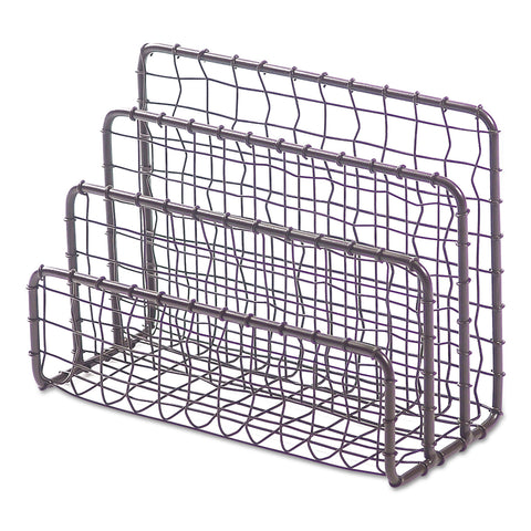 "Universal Vintage Wire Mesh File and Letter Sorter, 3 Sections, DL to Legal Size Files, 6.63"" x 2.88"" x 5.13"", Vintage Bronze"