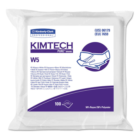 Kimtech W5 Critical Task Wipers, Flat Double Bag, Spunlace, 9x9, White, 100/Pk, 5/Carton - White