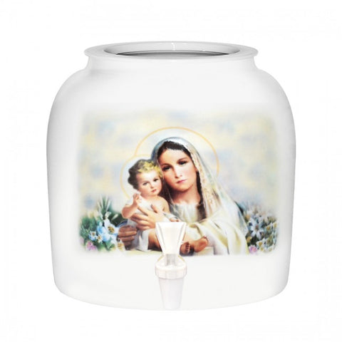 2.5 Gallon Porcelain Water Crock Dispenser With Crock Protector Ring and Faucet - Virgin Mary & Baby Jesus