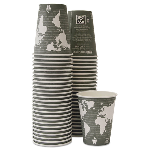 Eco-Products World Art Renewable/Compostable Hot Cups, 12 oz, Gray, 50/Pack,10 Pack/Carton