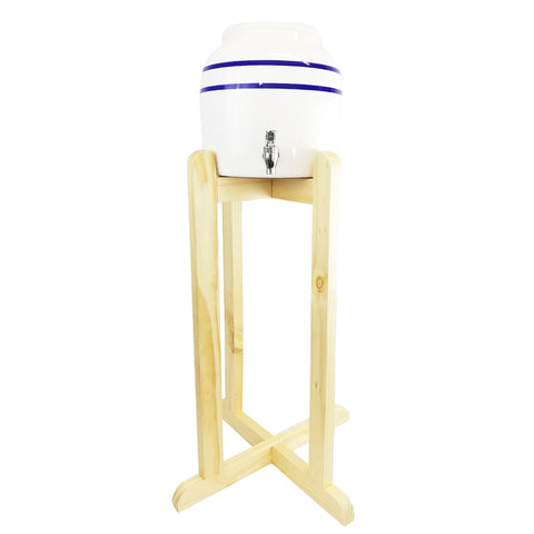 Blue Line Ceramic Water Crock Dispenser and Natural Wooden Floor Stand Combo - Blue Stripe