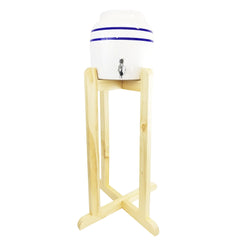 Water Crock Dispenser and Natural Wooden Floor Stand Combo