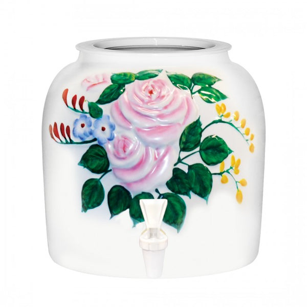 2.5 Gallon Porcelain Water Crock Dispenser With Crock Protector Ring and Faucet - Embossed Pink Roses
