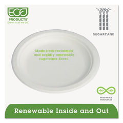"Eco-Products Renewable & Compostable Sugarcane Plates Convenience Pack, 6"", 50/PK, 20 PK/CT - Natural White"