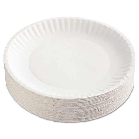 "AJM Packaging Corporation Paper Plates, 9"" Diameter, White, 100/Pack"