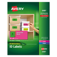 Avery High-Vis Removable Laser/Inkjet ID Labels, 2 x 4, Asst. Neon, 120/Pack