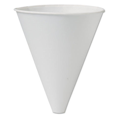 Bare Eco-Forward Treated Paper Funnel Cups, 10oz. White, 250/Bag, 4 Bags/Carton
