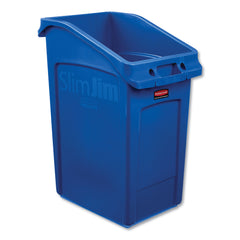 "Rubbermaid Commercial Slim Jim Under-Counter Container, 23 gal, Polyethylene, Blue - Blue / 15.8"" x 22.06"""