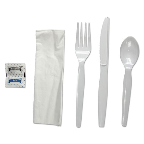 Boardwalk 6-Pc. Cutlery Kit, Condiment/Fork/Knife/Napkin/Spoon, Heavyweight, White, 250/CT