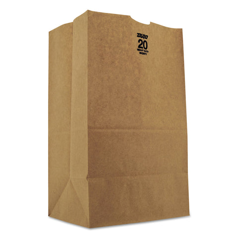 "General Grocery Paper Bags, 50 lbs Capacity, #20 Squat, 8.25""w x 5.94""d x 13.38""h, Kraft, 500 Bags"