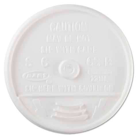 Dart Sip-Through Lids For 10, 12, 14 oz Foam Cups, Plastic, White, 1000/Carton - White
