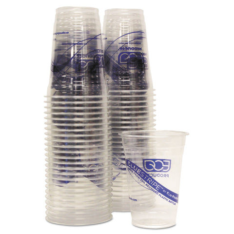 Eco-Products BlueStripe 25% Recycled Content Cold Cups Convenience Pack, 16 oz, 50/Pk