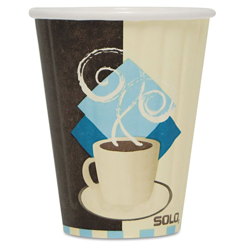 Duo Shield Insulated Paper Hot Cups, 8oz, Tuscan, Chocolate/Blue/Beige, 50/Pk