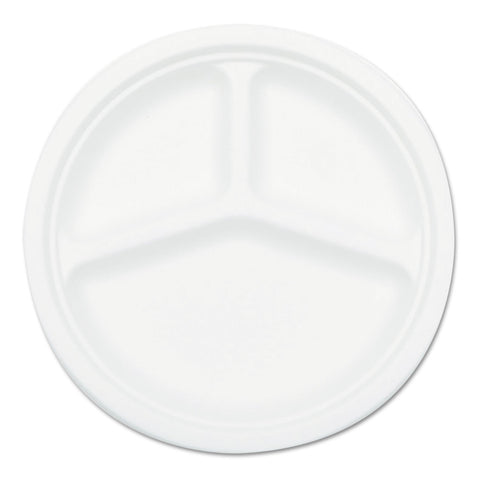 Compostable Sugarcane Bagasse 10 in 3-Compartment Plate, White, 500/Carton