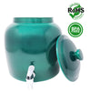 Premium Lead-Free Porcelain Beverage Dispenser With Matching Lid - 2.5 Gallons - Comes with Crock Ring Protector, No-Drip Chrome Painted BPA-Free Plastic Spigot Faucet and Lid - Shiny Dark Green