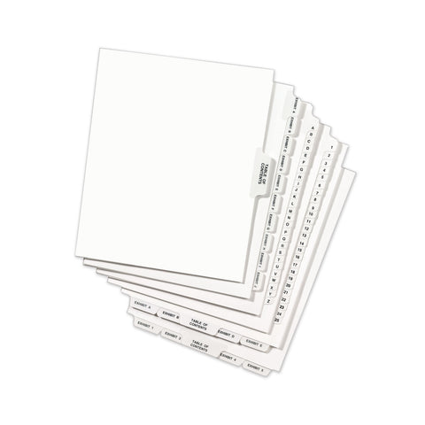 Avery Avery-Style Preprinted Legal Bottom Tab Divider, Exhibit H, Letter, White, 25/PK