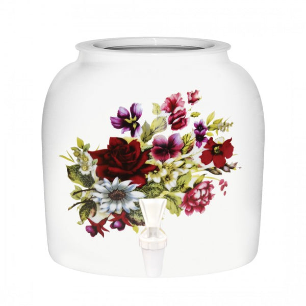 2.5 Gallon Porcelain Water Crock Dispenser With Crock Protector Ring and Faucet - Summer Flowers
