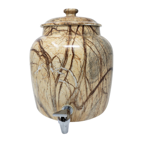 2.5 Gallon Porcelain Crock With Matching Lid - Wood Finish Marble