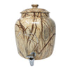 2.5 Gallon Porcelain Crock With Matching Lid, Ring and Faucet- Wood Finish Marble