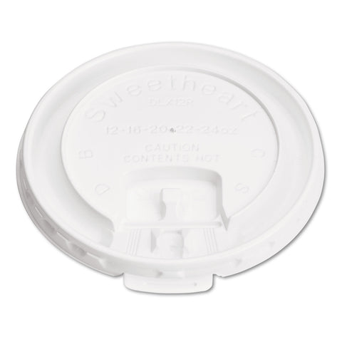 Dart Lift Back and Lock Tab Cup Lids, for 10oz Cups, White, 100/Sleeve, 20 Sleeves/CT