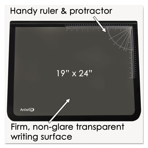 Artistic Lift-Top Pad Desktop Organizer with Clear Overlay, 24 x 19, Black