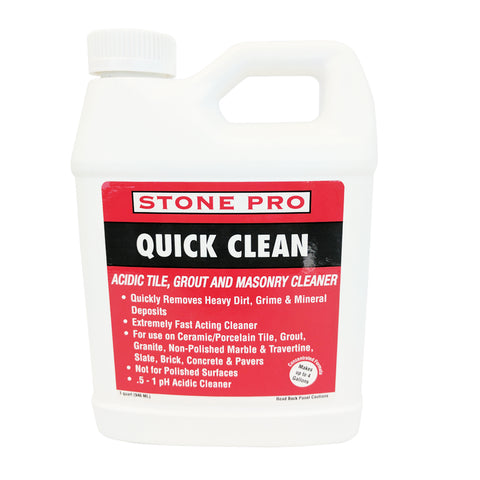 Stone Pro Quick Clean - Acidic Tile, Grout And Masonry Cleaner Concentrate - 1 Quart