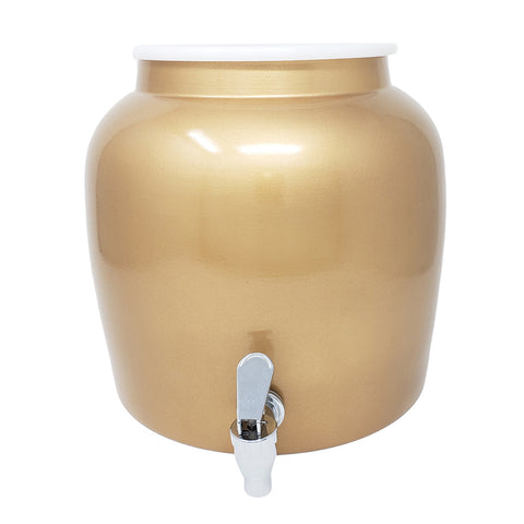 Premium Lead-Free Porcelain Beverage Dispenser With Matching Lid - 2.5 Gallons - Comes with Crock Ring Protector, No-Drip Chrome Painted BPA-Free Plastic Spigot Faucet and Lid - Gold