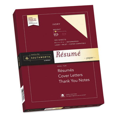 Southworth 100% Cotton Resume Paper, 24 lb, 8.5 x 11, Ivory, 100/Pack