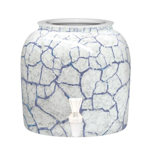 2.5 Gallon Porcelain Water Crock Dispenser With Crock Protector Ring and Faucet - Blue Detailed