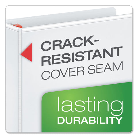 "Cardinal XtraLife ClearVue Non-Stick Locking Slant-D Ring Binder, 3 Rings, 5"" Capacity, 11 x 8.5, White - White / 5"""