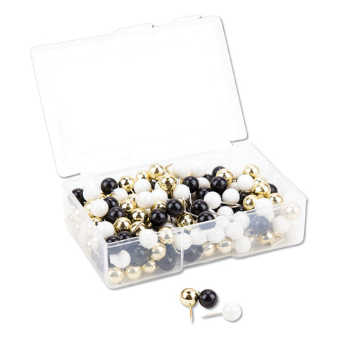 "U Brands Fashion Sphere Push Pins, Plastic, Assorted, 7/16"", 200/Pack"