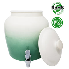 Premium Lead-Free Porcelain Beverage Dispenser With Matching Lid - 2.5 Gallons - Comes with Crock Ring Protector, No-Drip Chrome Painted BPA-Free Plastic Spigot Faucet and Lid - Gradient Green