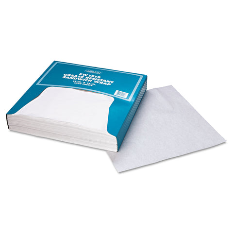 Bagcraft Grease-Resistant Paper Wrap/Liner, 12 x 12, White, 1000/Box, 5 Boxes/Carton