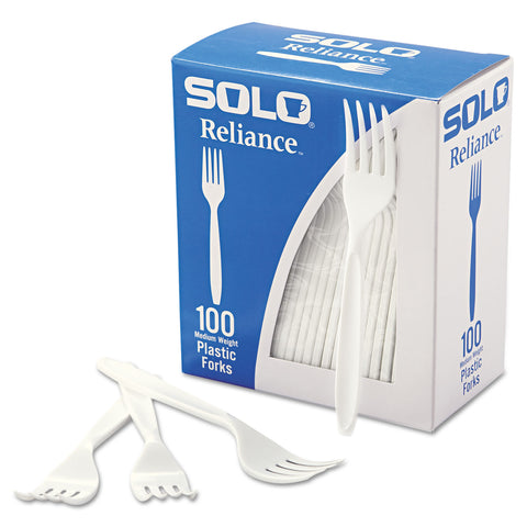 Dart Boxed Reliance Medium Heavy Weight Cutlery, Fork, White, 1000/Carton - White