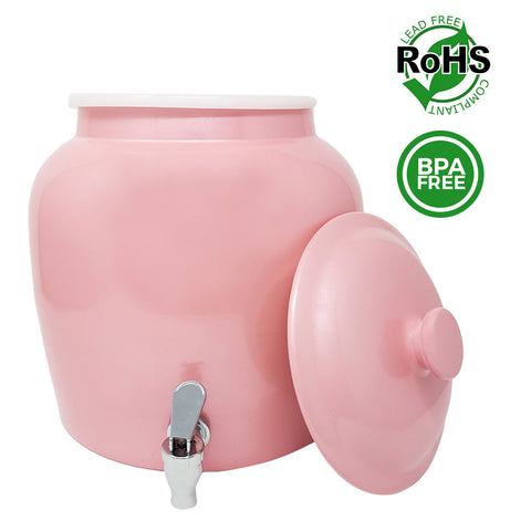 Premium Lead-Free Porcelain Beverage Dispenser With Matching Lid - 2.5 Gallons - Comes with Crock Ring Protector, No-Drip Chrome Painted BPA-Free Plastic Spigot Faucet and Lid - Shiny Pink