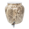 2.5 Gallon Porcelain Crock With Matching Lid - Gray Classic Marble