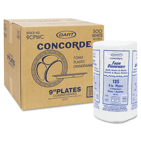 "Dart Concorde Foam Plate, 3-Comp, 9"" dia, White, 125/Pack, 4 Packs/Carton - White"