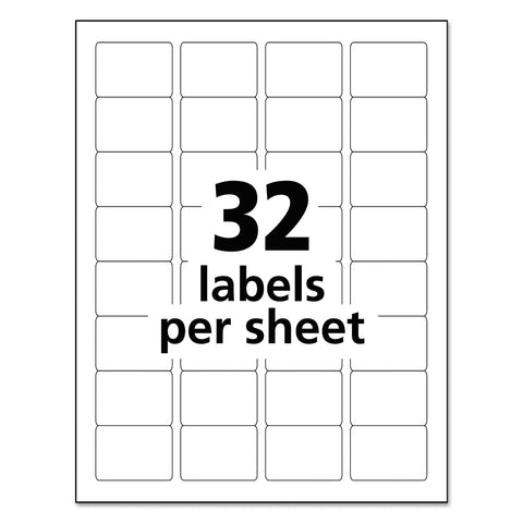 Avery Durable Permanent ID Labels with TrueBlock Technology, Laser Printers, 1.25 x 1.75, White, 32/Sheet, 50 Sheets/Pack - White / 1.25 x 1.75